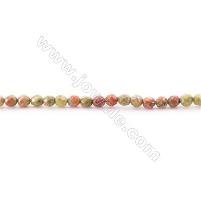 Natural Faceted Unakite Beads Strand  Round  diameter 2mm   hole 0.4mm   about 181 beads/strand 15~16''
