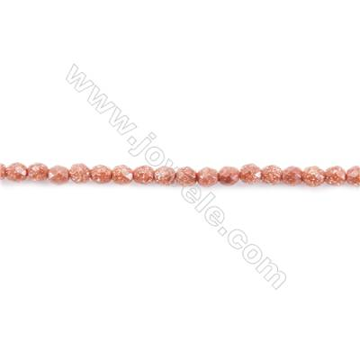 Faceted Goldstone Beads Strand  Round  diameter 2mm   hole 0.4mm   about 209 beads/strand 15~16''