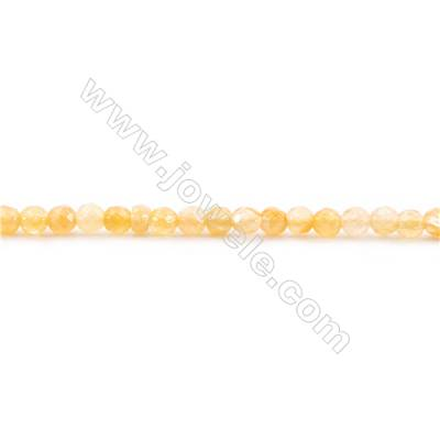 Faceted Natural Yellow Jade Beads Strand  Round  diameter 2mm   hole 0.4mm   about 176 beads/strand 15~16''