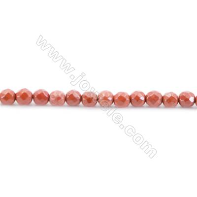 Faceted Natural Red Jasper Beads Strand  Round  diameter 2mm   hole 0.4mm   about 173 beads/strand 15~16''