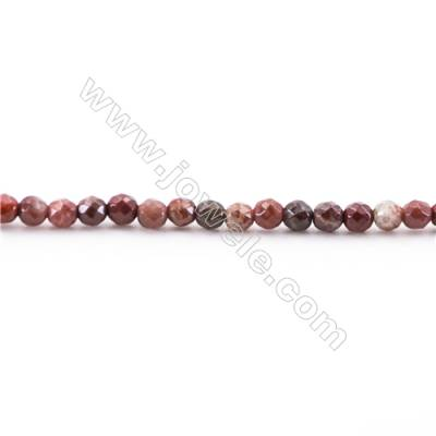 Faceted Red Rainbow Jasper Beads Strand, Round, Diameter 2mm, Hole 0.4mm, about 175 beads/strand 15~16""
