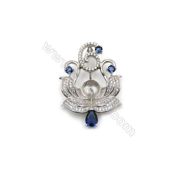 Sterling silver platinum plated fashion zircon jewelry pendants, 24x34 mm, Tray 9 mm, x 5