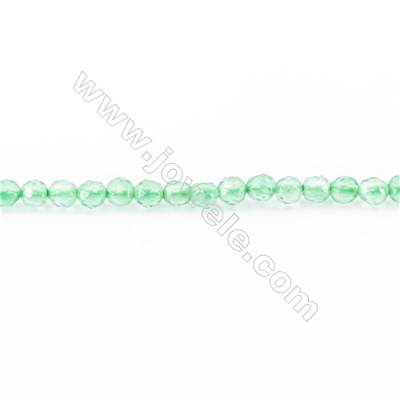 Natural Green Agate Faceted Beads Strand  Round  diameter 2mm   hole 0.4mm   about 193 beads/strand 15~16''