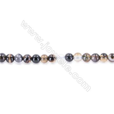 Black Agate Beads Strand  Round  diameter 2mm   hole 0.4mm   about 190 beads/strand 15~16''