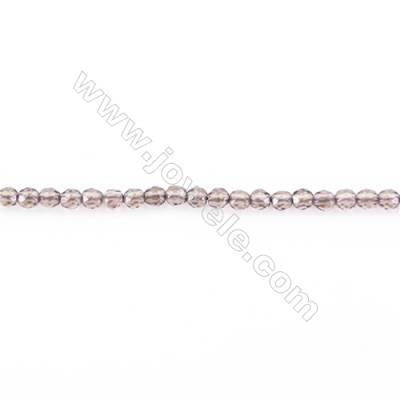 Natural Faceted Smoky Quartz Beads Strand  Round  diameter 2mm   hole 0.4mm   about 208 beads/strand 15~16''