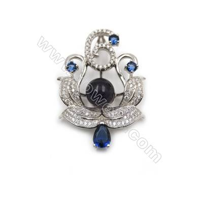 Sterling silver platinum plated fashion zircon jewelry pendants-D5511 24x34 mm x 5 Disc Diameter 9 mm