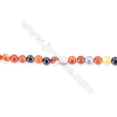 Natural Multi-Color Agate  Beads Strand  Round  diameter 2mm   hole 0.4mm   about 186 beads/strand 15~16''