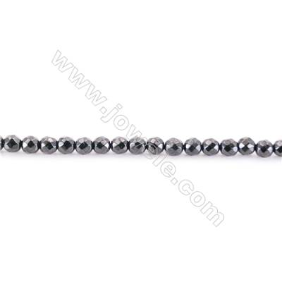 Faceted Natural Black Spinel Beads Strand  Round  diameter 2mm   hole 0.4mm   about 180 beads/strand 15~16''