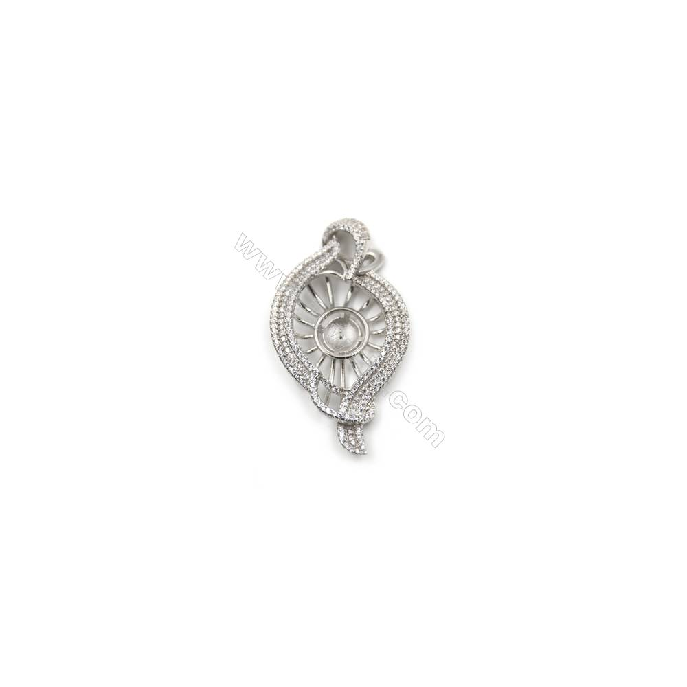 925 Sterling silver platinum plated zircon pendant, 27x50mm, Tray 12mm, x 5