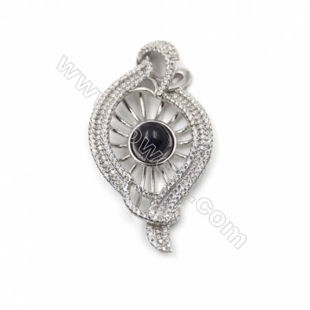 925 Sterling silver platinum plated zircon pendant -D5681 27x50mm x 5 disc diameter 12mm