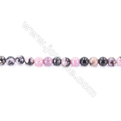 Black Stripes Rhodochrosite Stone Beads Strand  Round  diameter 2mm   hole 0.4mm   about 170 beads/strand 15~16''