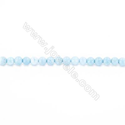 Synthetic Blue Turquoise Beads Strand Round, Diameter 2mm, Hole 0.4mm, about 181 beads/strand 15~16""