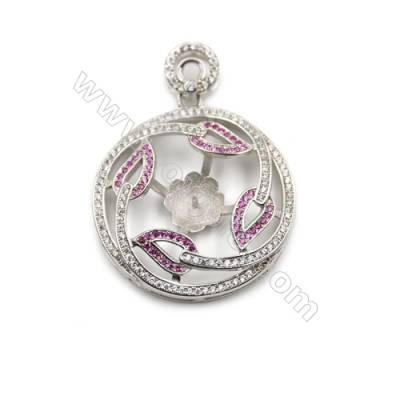 925 Sterling Silver Platinum Plated CZ Pendant, 30mm, Tray 10mm, x 2pcs