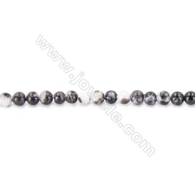 Natural Black And White Zebra Beads Strand  Round  diameter 2mm   hole 0.4mm   about 182 beads/strand 15~16''
