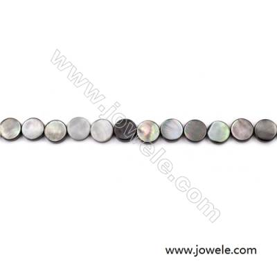 Grey Mother Of Pearl Shell Beads Strand, Flat Round, Diameter 10mm, hole 0.8mm, about 40 beads/strand, 15~16""