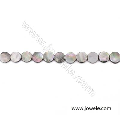 Grey Mother Of Pearl Shell Beads Strand, Flat Round, Diameter 13mm, hole 0.8mm, about 33 beads/strand, 15~16""