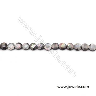 Faceted Grey Mother Of Pearl Shell Beads Strand, Flat Round, Diameter 10mm, hole 0.8mm, about 39 beads/strand, 15~16""