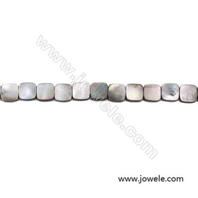 Grey Mother Of Pearl Shell Beads Strand, Square, Size 13x13mm, hole 0.8mm, about 33 beads/strand, 15~16""