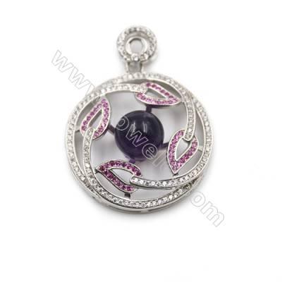 Wholesale 925 sterling silver platinum plated CZ pendant -D5496 30mm x 2pcs disc diameter 10mm