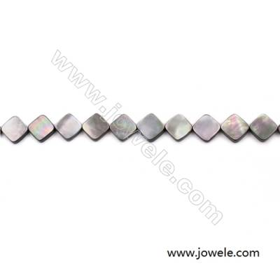 Grey Mother Of Pearl Shell Beads Strand, Rhombus, Size 12x12mm, hole 0.8mm, about 33 beads/strand, 15~16""