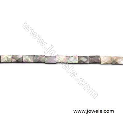 Faceted Grey Mother Of Pearl Shell Beads Strand, Rectangle, size 8x10mm, hole 0.8mm, about 40 beads/strand, 15~16""