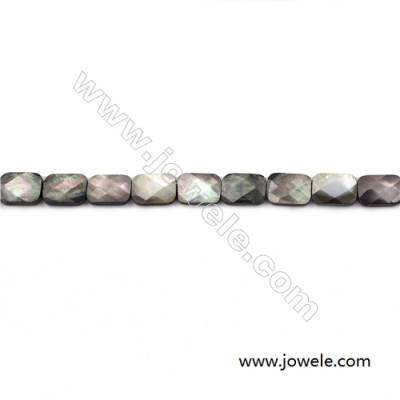 Faceted Grey Mother Of Pearl Shell Beads Strand, Rectangle, size 10x14mm, hole 0.8mm, about 28 beads/strand, 15~16""