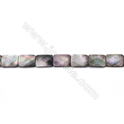 Faceted Grey Mother Of Pearl Shell Beads Strand  Rectangle  Size 15x20mm  hole 0.8mm  about 18 beads/strand  15~16""