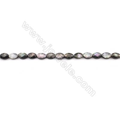 Faceted Grey Mother Of Pearl Shell Beads Strand, Oval, diameter 6x9mm, hole 0.8mm, about 40 beads/strand, 15~16""