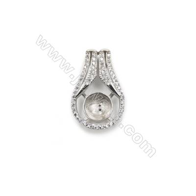 925 sterling silver platinum plated CZ pendants, 14x23 mm, Tray 9 mm, x 5pcs