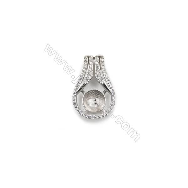 925 sterling silver platinum plated CZ pendants, 14x23 mm, Tray 9 mm, x 5pcs