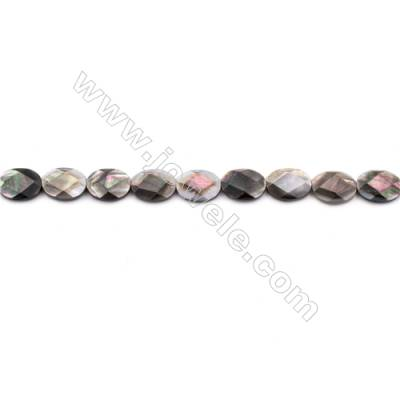Faceted Grey Mother Of Pearl Shell Beads Strand, Oval, Size 12x16mm, hole 0.8mm, about 25 beads/strand, 15~16""