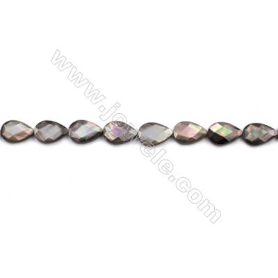 Faceted Grey Mother Of Pearl Shell Beads Strand, Teardrop, Size 10x15mm, hole 0.8mm, about 27 beads/strand, 15~16""