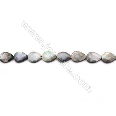 Faceted Grey Mother Of Pearl Shell Beads Strand, Teardrop, Size 15x20mm, hole 0.8mm, about 20 beads/strand, 15~16""