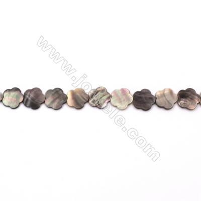 Grey Mother Of Pearl Shell Beads Strand, Flower Shape, Size 15x15mm, hole 0.8mm, about 27 beads/strand, 15~16""