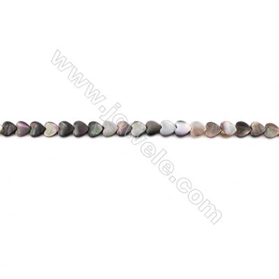 Grey Mother Of Pearl Shell Beads Strand, Heart, Size 6x6mm, hole 0.7mm, about 74 beads/strand, 15~16""