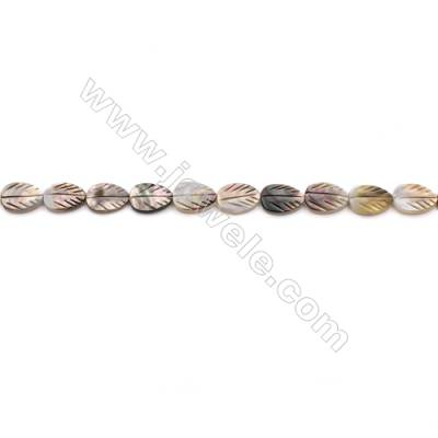 Grey Mother Of Pearl Shell Beads Strand, Leaf, Size 10x14mm, hole 0.8mm, about 29 beads/strand, 15~16""