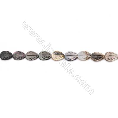 Grey Mother Of Pearl Shell Beads Strand, Leaf, Size 12x16mm, hole 0.8mm, about 25 beads/strand, 15~16""