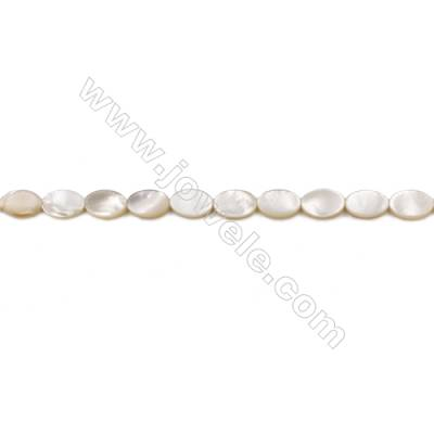 Natural Mother-of-pearl shell beads strand  Oval   Size 8x12mm hole 0.8mm  about 32 beads/strand 15~16""