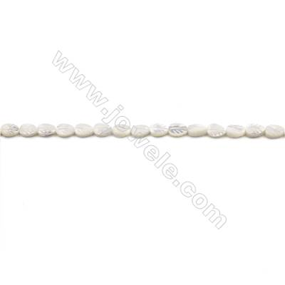 Natural White Mother-of-pearl shell beads strand  Leaf  Size 6x9mm hole 0.8mm  about 43 beads/strand 15~16""