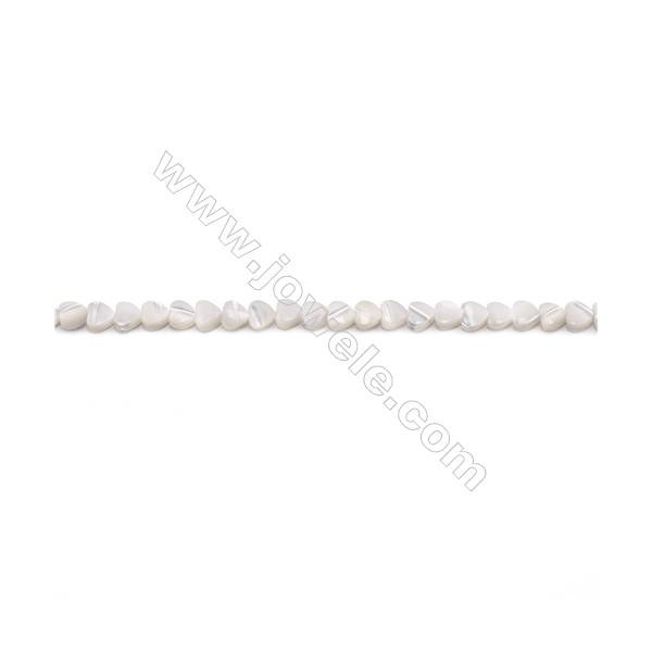 """Natural White Mother-of-pearl shell beads strand  Heart  Size 4x4mm hole 0.5mm  about 91 beads/strand 15~16"""""""