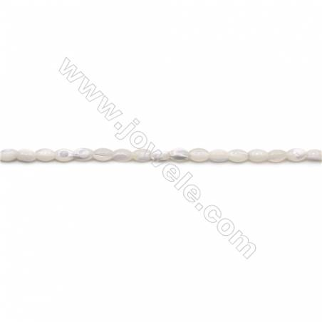Natural White Mother-of-pearl shell beads strand  Rice  Size 3x5mm hole 0.8mm  about 81 beads/strand 15~16""