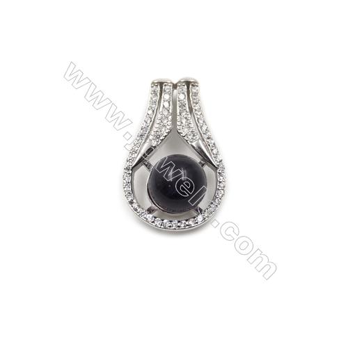 925 sterling silver platinum plated CZ pendants -D5553 14x23 mm x 5pcs  disc diameter 9 mm