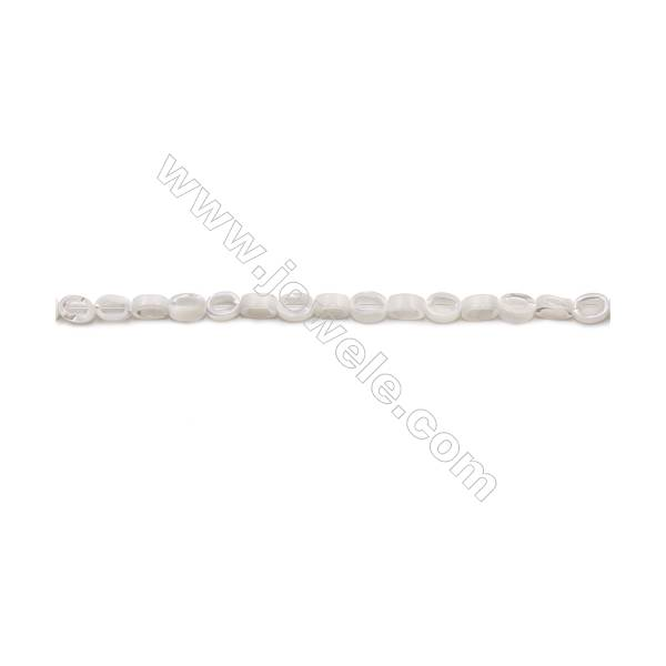 Natural White Mother-of-pearl shell beads strand  O shape  Size 4x6mm hole 0.8mm  about 64 beads/strand 15~16""