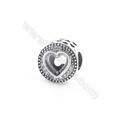 Sterling Silver Cubic Zirconia European Beads, x 1 piece, Hollow Heart, Size 10x7mm, hole 4mm