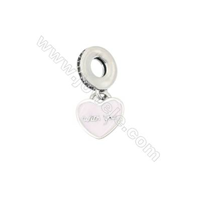 925 Sterling Silver European Beads, x 1 piece, pink heart, Size 11x12mm, hole 4.5mm