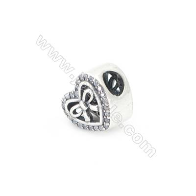 Sterling Silver Cubic Zirconia European Beads, x 1 piece, heart &bow, Size 11x9mm, hole 4.0mm