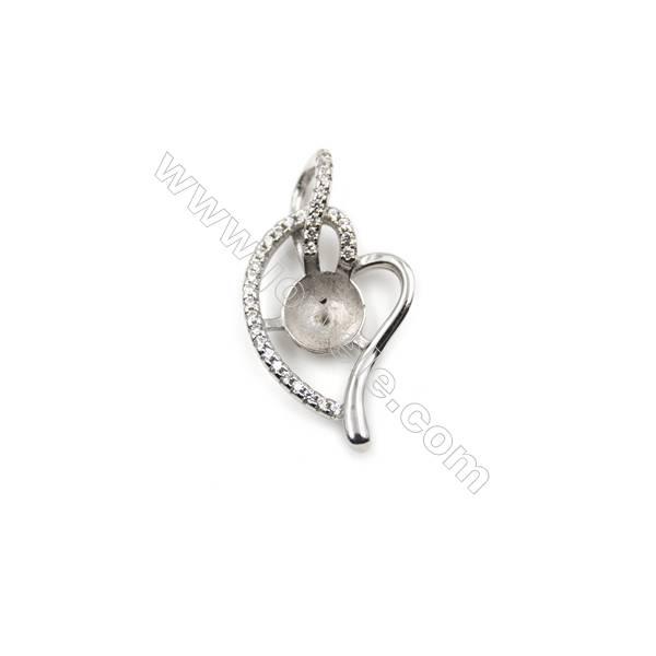 925 sterling silver platinum plated zircon pendants, 16x30mm, x 5pcs, Tray 9mm