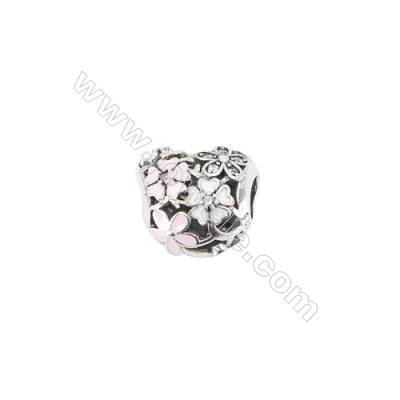 Sterling Silver European Zircon Beads, x 1 piece, Heart, Size 13x12x10mm, Hole 4.5mm