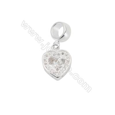 Sterling Silver Cubic Zirconia European Beads, x 1 piece, heart, Size 10x10mm