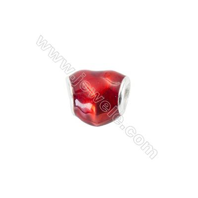 Sterling Silver European Beads x 1 piece  red heart  Size 10x10x8mm  hole 4.5mm